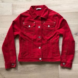 CABI red jean jacket